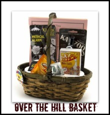 funny over the hill gift basket